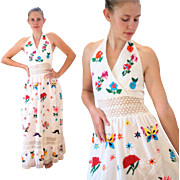 SALE 1970s Mexican Embroidered Festive Halter Dress S