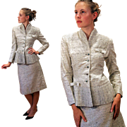 1955 Couture Lilli Ann Worsted Silk Wool Mohair Skirt Suit S/XS