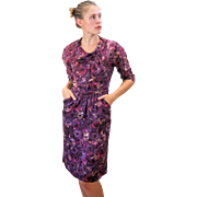 1950s Regency Purple Rayon Floral Day Dress S/M