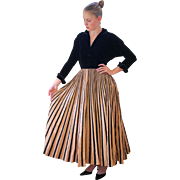 SALE 1940s New Look Evening Dress, Black Velvet and Full Striped Taffeta Skirt