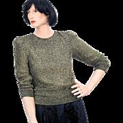 1980s Gold Lurex Glitter Sweater S