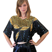 1980s Black Gold Sequin Leaves Glittery Top S/M