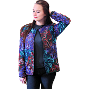 1980s Silk Sequined Spiral Design Jacket size M