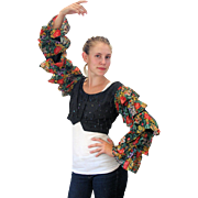 1980s Ruffle Sleeve Beaded Cropped Blouse S/M