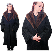 SALE 1950s Curly Lamb Coat with Fur Collar XL