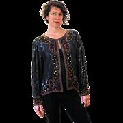 1980s Beaded Sequined Black Silk Cardigan M/L