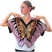 1980s Swee Lo Pink Sequin Butterfly Silk Top