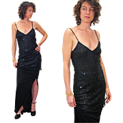 SALE 1980s Christian Dior Black Sequin Two Piece Evening Dress