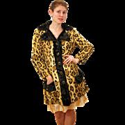 SALE 1970s West Germany Mod Faux Leopard Fur Coat S/M