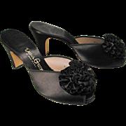 SOLD 1950s Daniel Green Black Satin Boudoir Slippers size 7.5