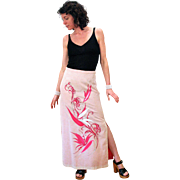 1970s Shaheen Pink Tropical Hawaiian Maxi Skirt M