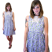 1950s Kate Greenaway Girly Violet Floral Cotton Dress XS