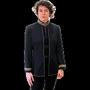 1980s Dramativ Black Gold Military Style Jacket M