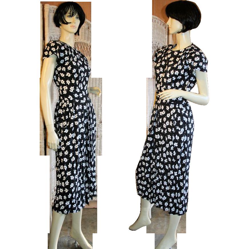 Vintage Black White Leaf Print Dress Rayon S