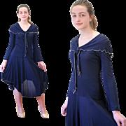 SALE 1970s Vicky Tiel Sexy 2 Pc Sailor Dress Navy Sheer Silk S/XS