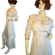 REDUCED Antique Edwardian 1910 Tea Dress Polka Dot Silk Lace Gown, Museum DeAccession