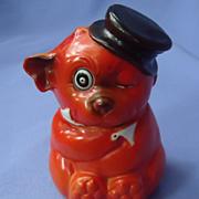 "SALE art deco  orange Bonzo tobacco jar Germany 5"""