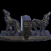SALE 1930 bronze Borzoi bookends Ronson