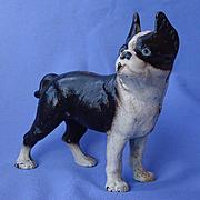 "SALE authentic Hubley cast iron Boston terrier bank 7"""