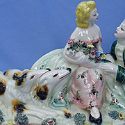 "SALE 25"" lady & gent adoring Borzoi Italy"