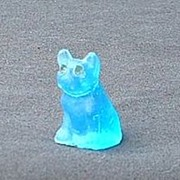SALE Czech deco blue frosted  French Bulldog Boston Terrier