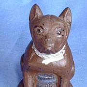 ..Vintage glass dog candy container FRENCH BULLDOG