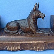 "14"" Black Forest inkwell German Shepherd Alsatian"