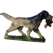 """SALE antique Hubley English setter spaniel paperweight 5"""""""