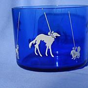 Borzoi Pekingese Boston terrier Scotty cobalt  blue ice bucket