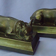 SALE 1930s French bulldog bronze bookends JB