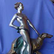 SALE 1935 art deco nude & Borzoi Pompeian Bronze Lindner