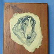 "SALE nice wood Borzoi plaque 7"""