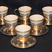 Set of 6 Sterling with Lenox Inserts Demitasse Cups and Saucers