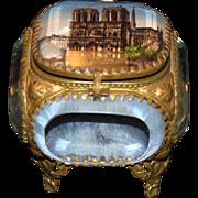 SALE PENDING Vintage Souvenir Beveled Casket-Notre Dame Paris