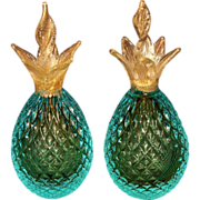 SALE PENDING Vintage Murano Gold Fleck Pineapple Bookends
