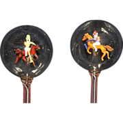 SALE PENDING Vintage Bimini Art Glass Polo Players Swizzle Sticks