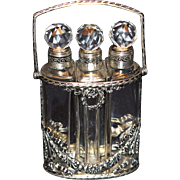 SALE PENDING Lovely French Crystal Three Perfume Bottle in Silver Handled Holder