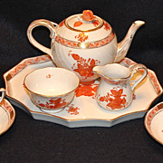 Herend Chinese Bouquet Tea Set for 2 with Tray