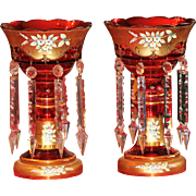 "Stunning 13"" Bohemian/Czech Enamel on Cranberry Mantle Luster"