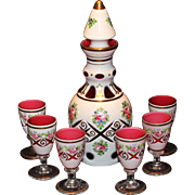 Moser Bohemian Cranberry Overlay Decanted & Goblets