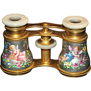 SALE PENDING Antique French Guilloche Enamel Opera Glasses With Putti