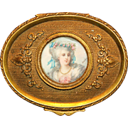 Lovely French Bronze Ormolu Ring Box With Artist Signed Portrait Of A Lady