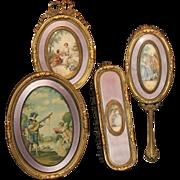 French Guilloche Portrait Dresser Set-4 Pieces Ormolu Trim