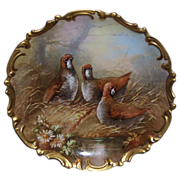Strauss Limoges Hand Painted Quail Plaque Charger Signed Dubois