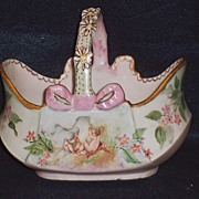 Unusual D & C Limoges Cherub Hand Painted Basket with Daisy Handles