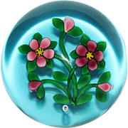 Bobby Banford Floral Paperweight on Blue Ground