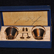 Pair of Sterling Bucket/Pail Salt Cellars with Spoons in Box