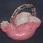 SALE PENDING Boston and Sandwich Glass Pink and White Striped Thorn Handle Basket