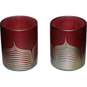 Unusual Steve Correia Red Pulled Feather Art Glass Tumblers(2)