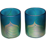 Steven Correia Pulled Feather Blue Art Glass Tumblers(2)